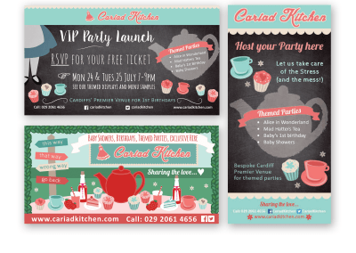 Banner, menu adverts, social media – Cariad Kitchen
